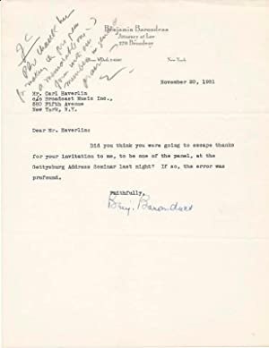 Typed Note Signed / Unsigned Typescript.: BARONDESS, Benjamin (1891-1960).