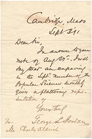 Autograph Letter Signed.: GOODALE, George Lincoln (1839-1923).