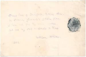Autograph Quotation Signed.: WINTER, William (1836-1917).