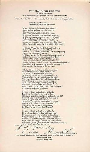 Printed Document Signed: MARKHAM, Edwin (1852-1940)