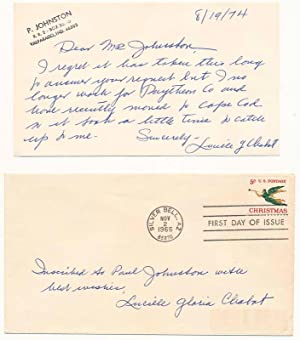 Signed First Day Cover / Autograph Note Signed.: CHABOT, Lucille Gloria (1908-2005).