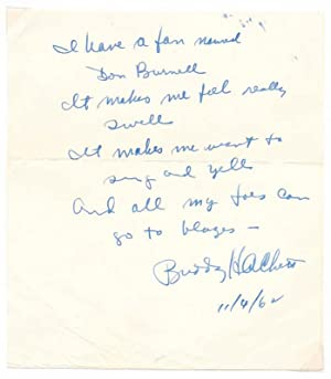 Autograph Quotation Signed.: HACKETT, Buddy (1924-2003).