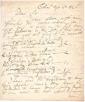 Autograph Letter Signed.: HALL, Sir James (1761-1832).