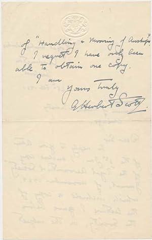 Autograph Letter Signed.: SCOTT, G. Herbert (1888-1930).