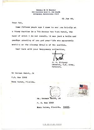 Typed Note Signed.: RIDGWAY, Matthew B. (1895-1993).