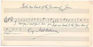 Autograph Musical Quotation Signed.: OSBORNE, Nat (1878-1954).