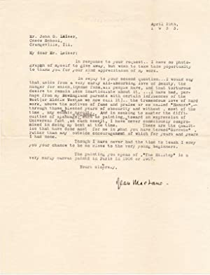 Typed Letter Signed: MacLANE, Jean (1878-1964)