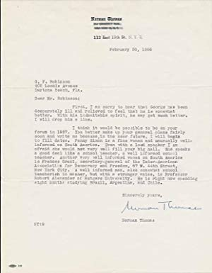 Typed Letter Signed.: THOMAS, Norman (1884-1968).