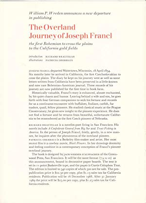 The Overland Journey of Joseph Francl: The First Bohemian to Cross the Plains to the California ...