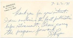 Autograph Note Signed: RYAN, James J.
