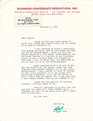 Typed Letter Signed: MANN, Delbert (1920-2007)