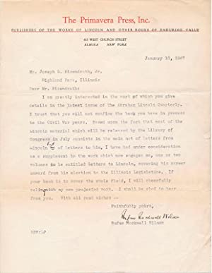 Typed Letter Signed.: WILSON, Rufus Rockwell (1865-1949).