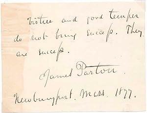 Autograph Quotation Signed.: PARTON, James (1822-91).