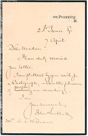Autograph Note Signed: LUBBOCK, John (1st Baron Avebury) (1834-1913)