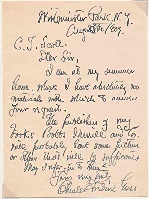 Autograph Letter Signed: GOSS, Charles Frederic (1852-1930)