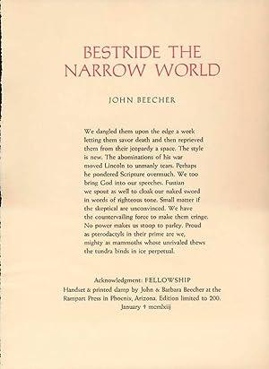 Bestride the Narrow World.: BEECHER, John.