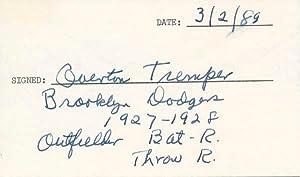 Signature and Inscription.: TREMPER, Overton (1906-90).