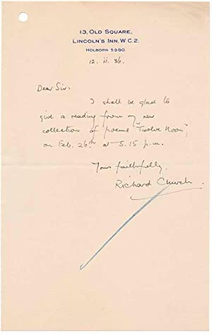 Autograph Note Signed.: CHURCH, Richard (1893-1972).