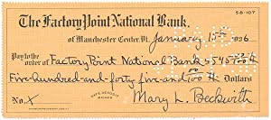 Partly-Printed Autograph Document Signed: BECKWITH, Mary Lincoln
