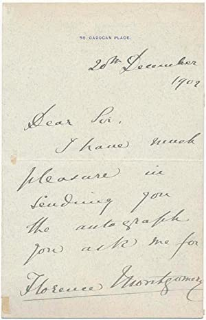 Autograph Note Signed.: MONTGOMERY, Florence (1843-1923).