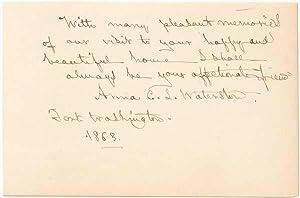 Signature and Inscription.: WATERSTON, Anna C.L. (1812-99).
