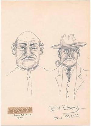 Signed Pencil Sketch: EMERY, Benjamin V. (1848-1931)