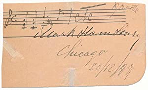 Autograph Musical Quotation Signed.: HAMBOURG, Mark (1879-1960).
