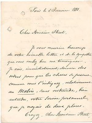 Autograph Letter Signed.: LAMOUREUX, Charles (1834-99).