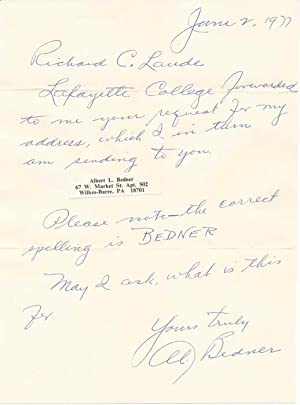Autograph Note Signed: BEDNER, Al (1898-1988)