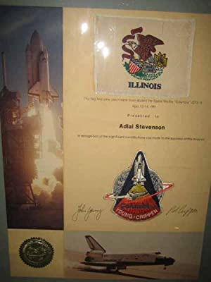"This flag and crew patch were flown aboard the Space Shuttle ""Columbia"" (STS-1) / ..."