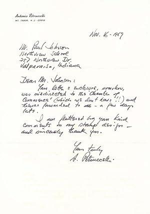 Autograph Letter Signed: PETRUCCELLI, Antonio (1907-94)