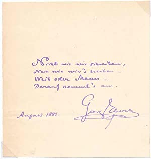 Autograph Quotation Signed: EBERS, Georg (1837-98)