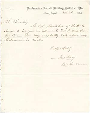 Autograph Note Signed.: CRAIG, James (1817-88).