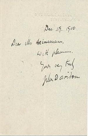 Autograph Note Signed.: DAVIDSON, John (1857-1909).