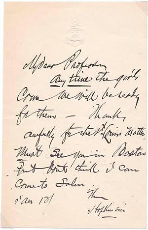 Autograph Note Signed: SMITH, F. Hopkinson