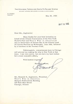 Typed Letter Signed.: MARSH, Ernest S, (1903-75).