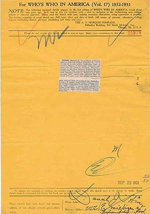 Document Signed.: TOBIN, Daniel J. (1875-1955).