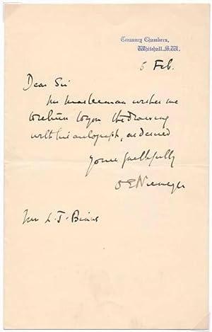 Autograph Note Signed.: NIEMEYER, Otto Ernst (1883-1971).