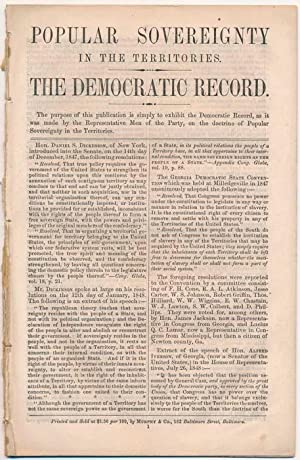 Popular Sovereignty in the Territories. The Democratic Record