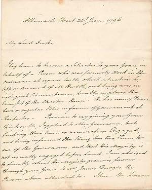 Autograph Letter Signed: KING, Richard, 1st Baronet (1730-1806)