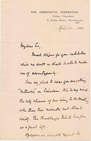 Autograph Letter Signed.: HYNDMAN, Henry M. (1842-1921).