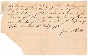 Autograph Document Signed.: PLATT, Jonas (1769-1834).