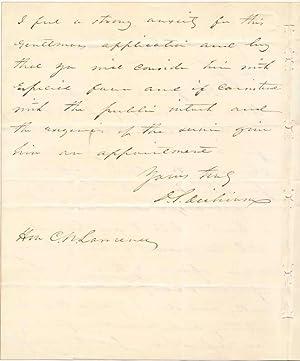 Autograph Letter Signed.: DICKINSON, Daniel S. (1800-66).