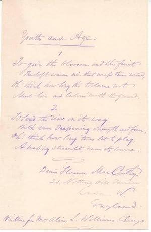 Autograph Manuscript Signed: MacCARTHY, Denis Florence (1817-82)