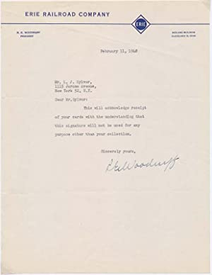 Typed Note Signed.: WOODRUFF, Robert E. (1884-1967).