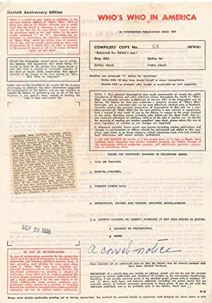 Printed Document (unsigned): OLDBERG, Arne (1874-1962)