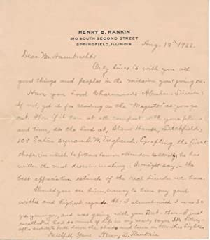 Autograph Letter Signed.: RANKIN, Henry B. (1837-1927).