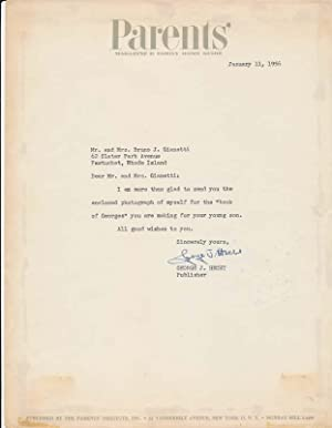 Typed Note Signed / Inscribed Photograph Signed: HECHT, George J. (1895-1980)