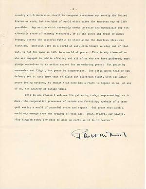 Signed Typescript: McNUTT, Paul V. (1891-1955)