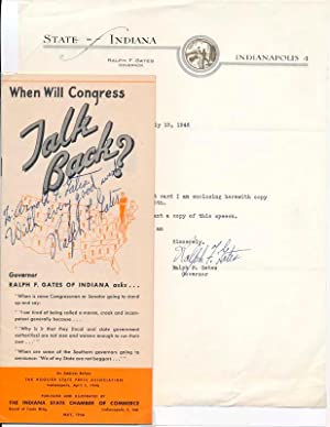 Typed Note Signed / Signed Pamphlet.: GATES, Ralph W. (1893-1978).